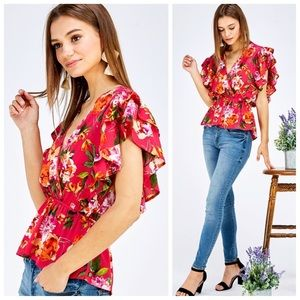 Fuchsia floral ruffle sleeve top